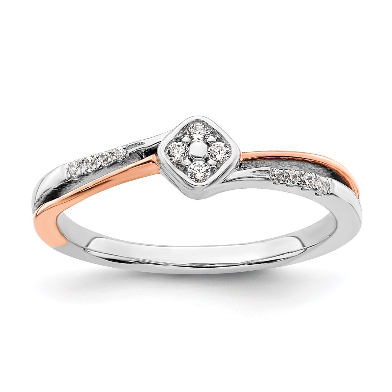 14k White and Rose Gold Complete Square Cluster Dia. Promise Ring
