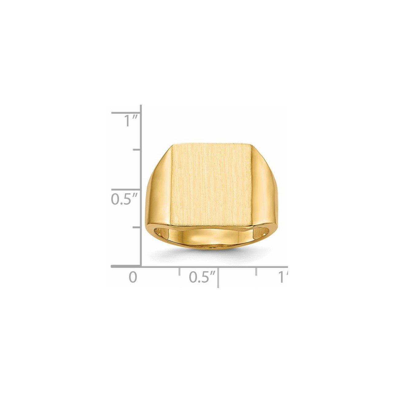 14k 15.0x13.5mm Open Back Mens Signet Ring-4