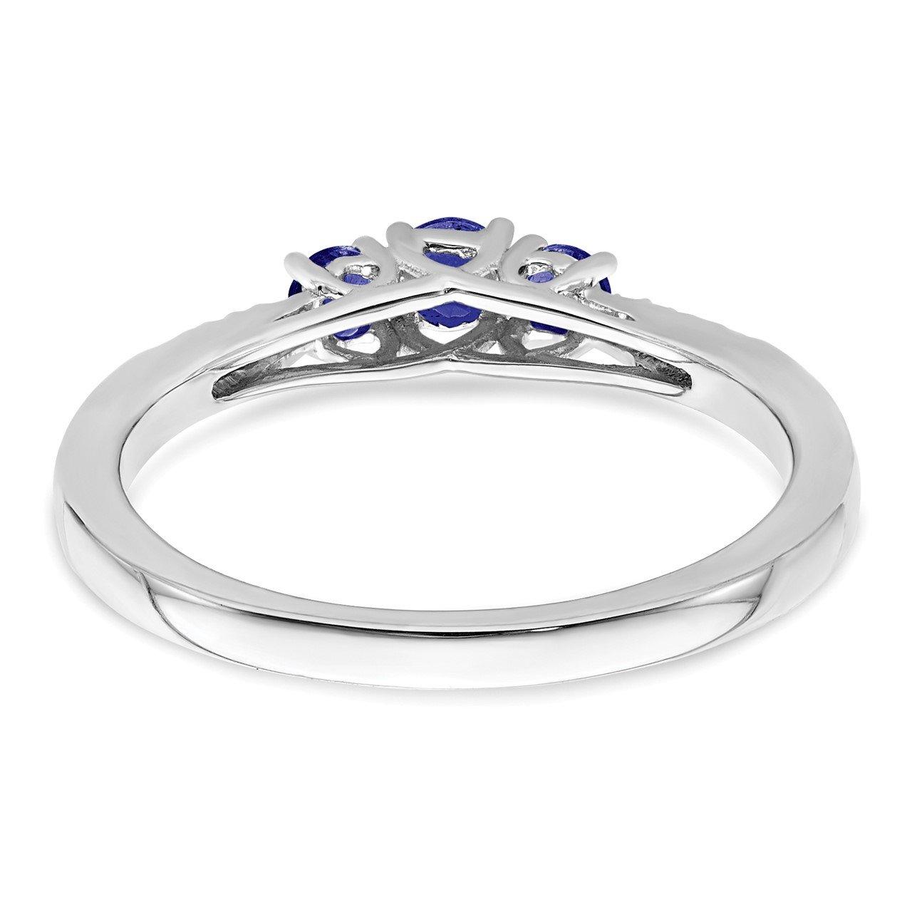14k White Gold Sapphire and Diamond 3-stone Ring-5