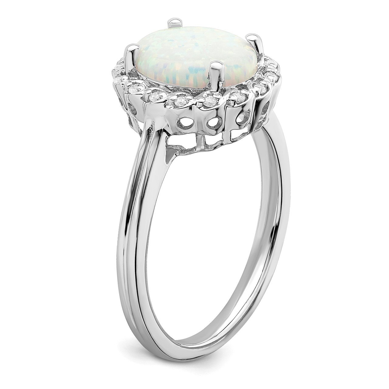 14k White Gold Created Opal and Diamond Halo Ring-6