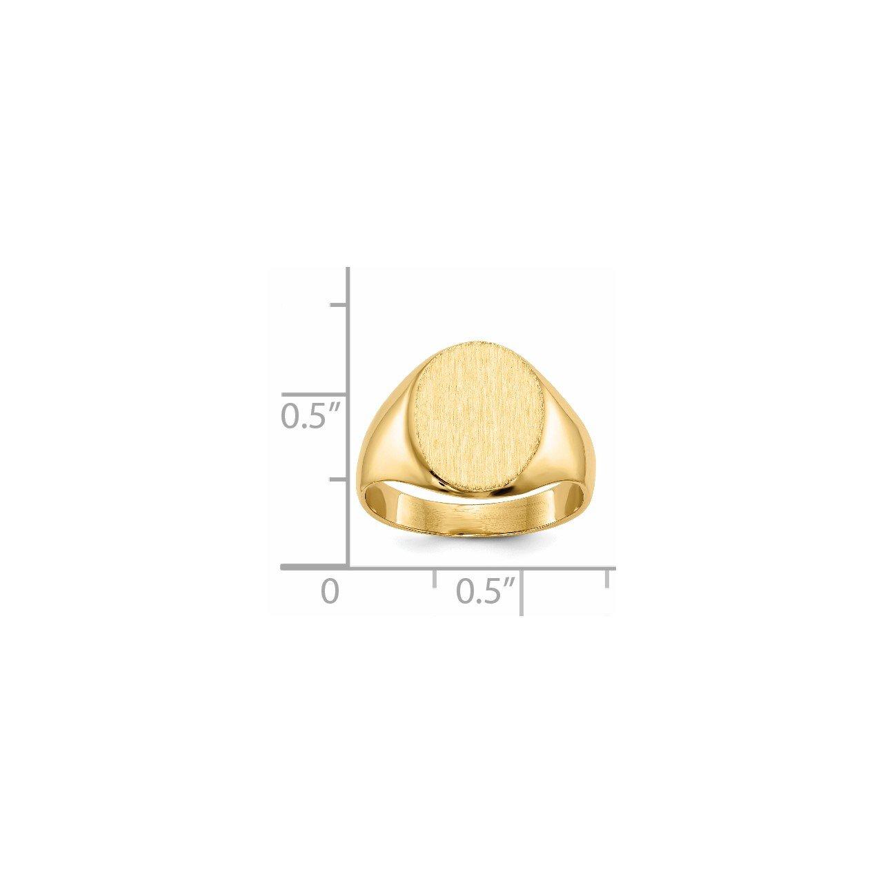 14k 10.5x12mm Closed Back Signet Ring-4