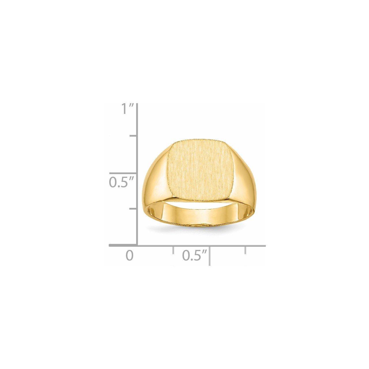 14k 12.0x13.0mm Closed Back Men's Signet Ring-4