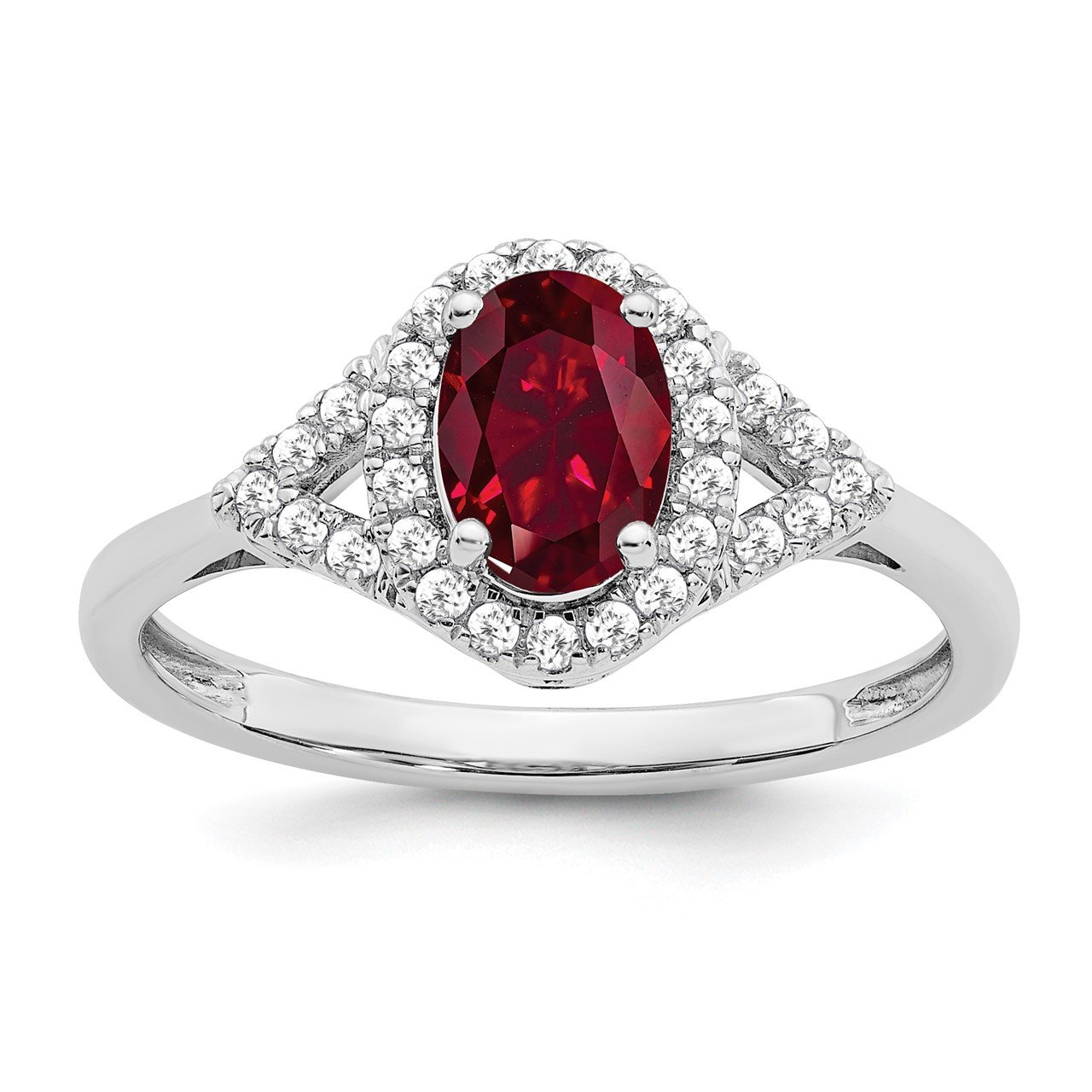 14k White Gold Oval Created Ruby and Diamond Ring