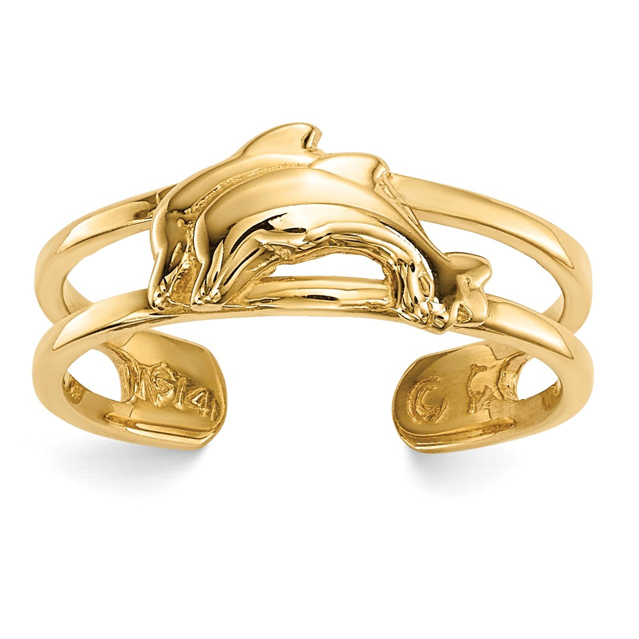 14k Dolphins Toe Ring