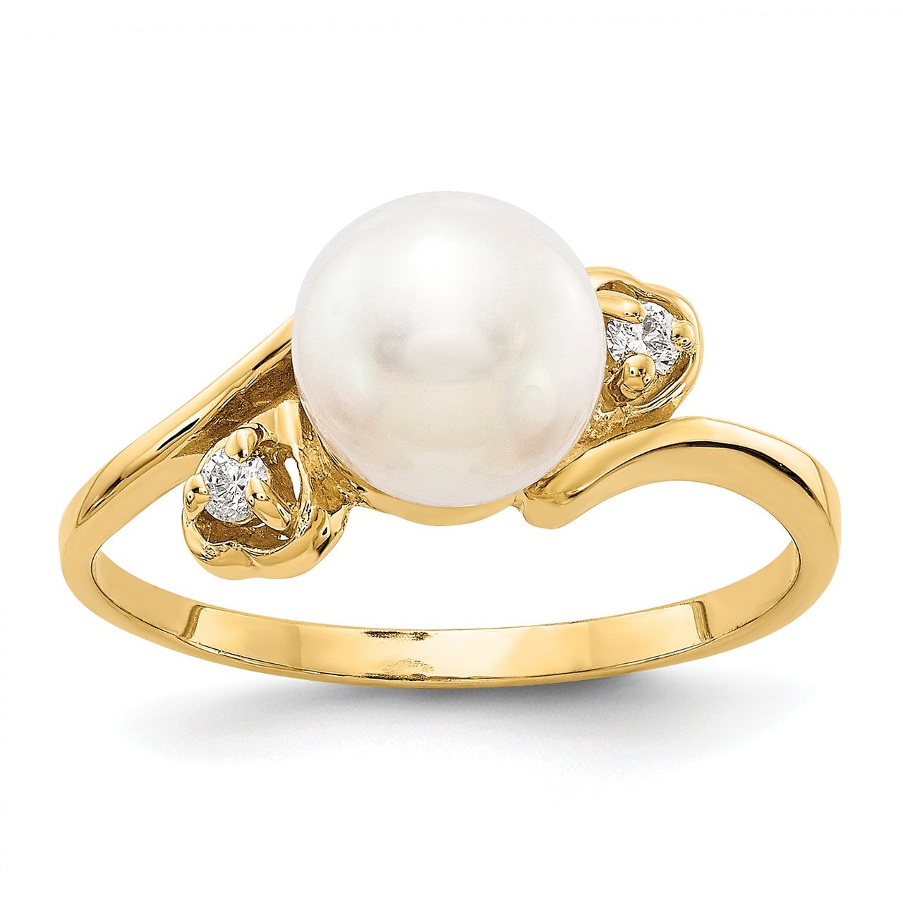 14k Gold 7mm FW Cultured Pearl A Diamond ring