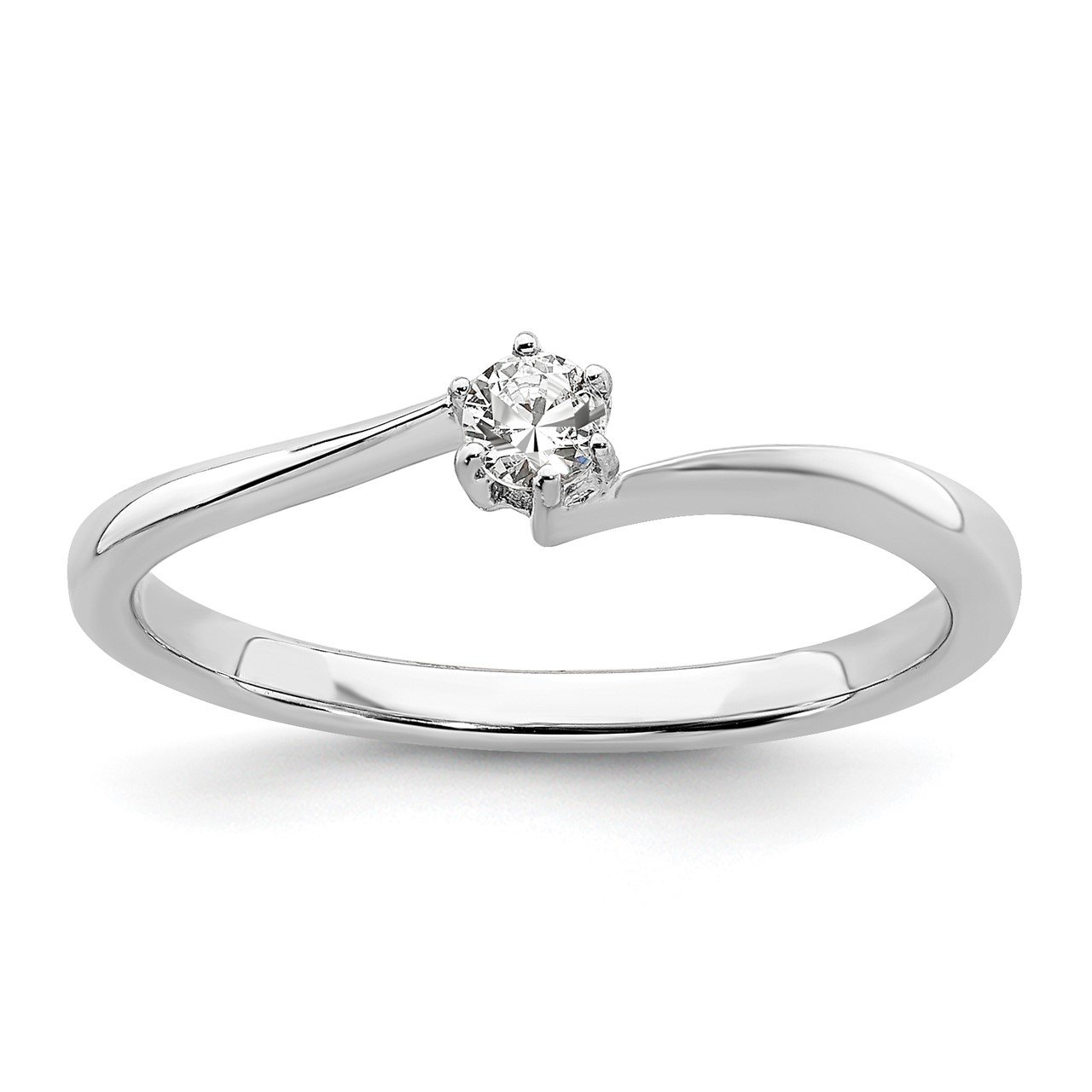 14kw Lab Grown Diamond SI1/SI2, G H I, Off Set Band Promise Ring