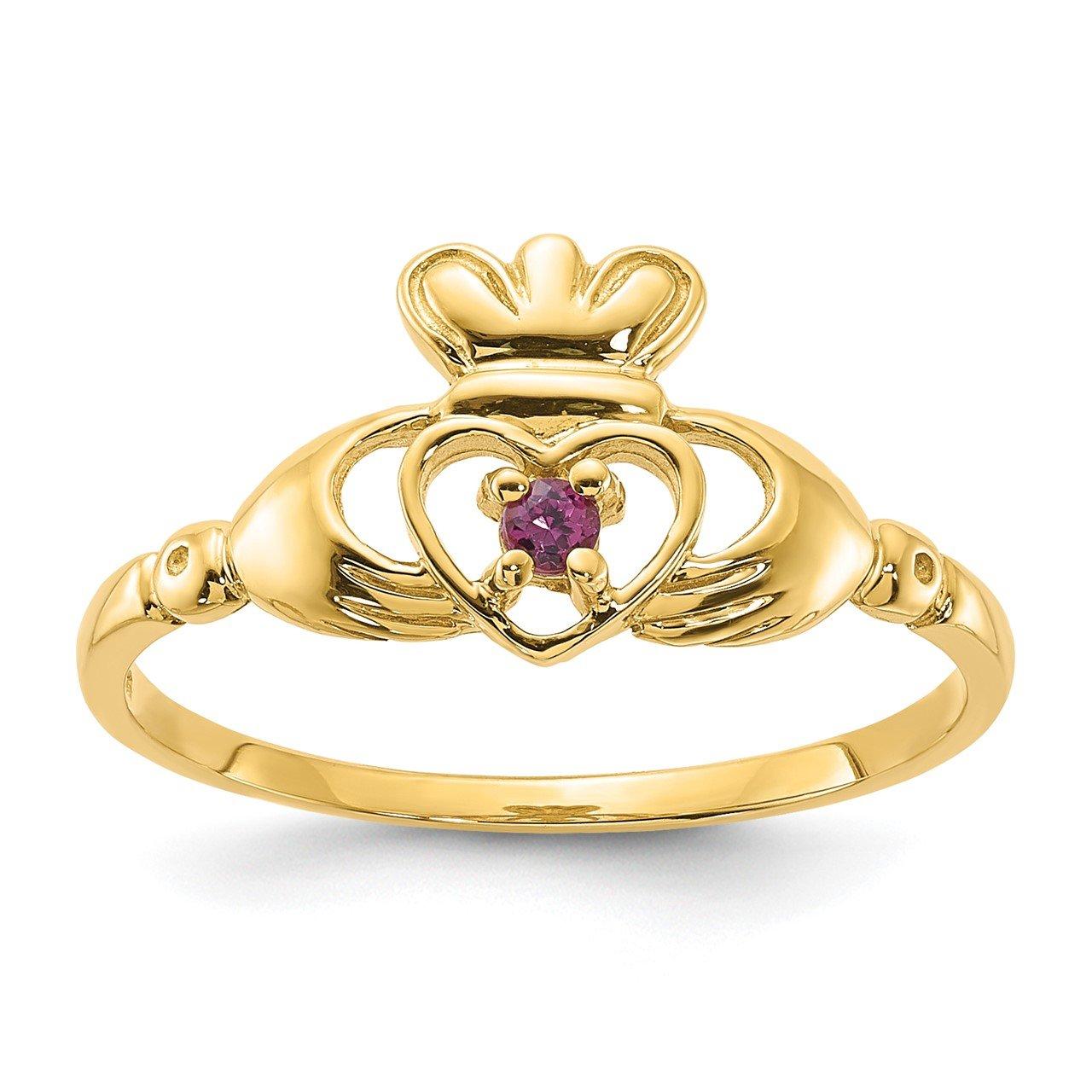 14ky Rhodolite Garnet Claddaugh Birthstone Ring