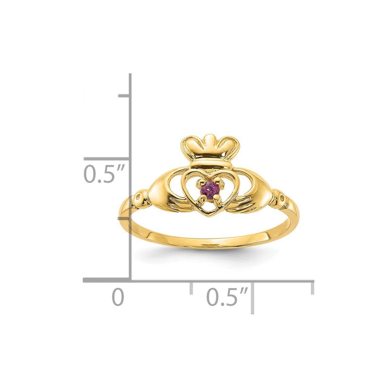 14ky Rhodolite Garnet Claddaugh Birthstone Ring-1