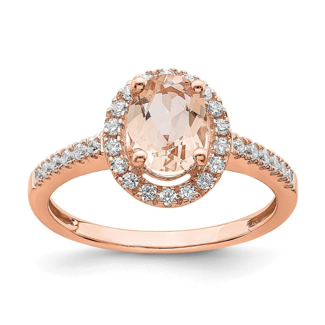 14k Rose Gold Morganite and Diamond Eng Ring