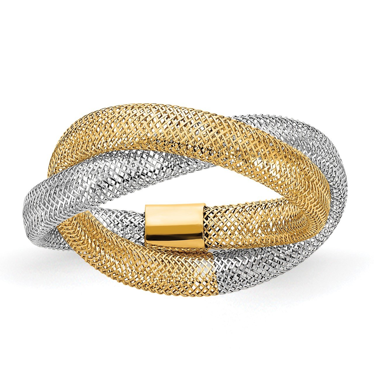 14K Two-tone Gold Woven Mesh Stretch Ring