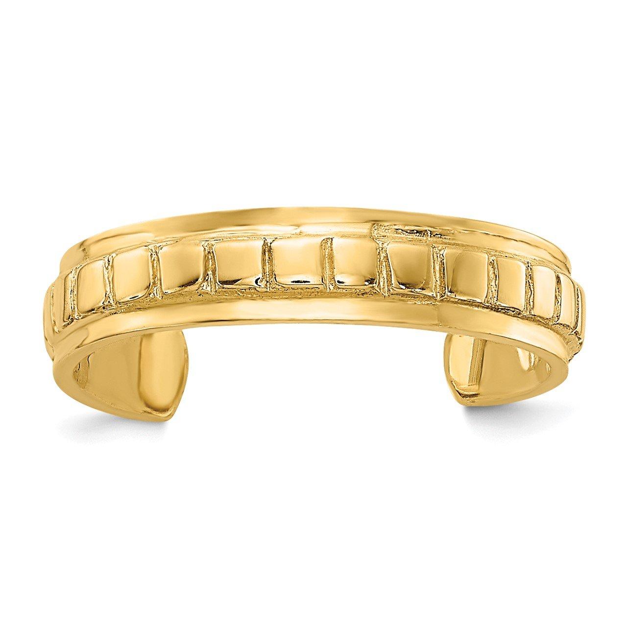 14k Polished and Diamond-cut Toe Ring