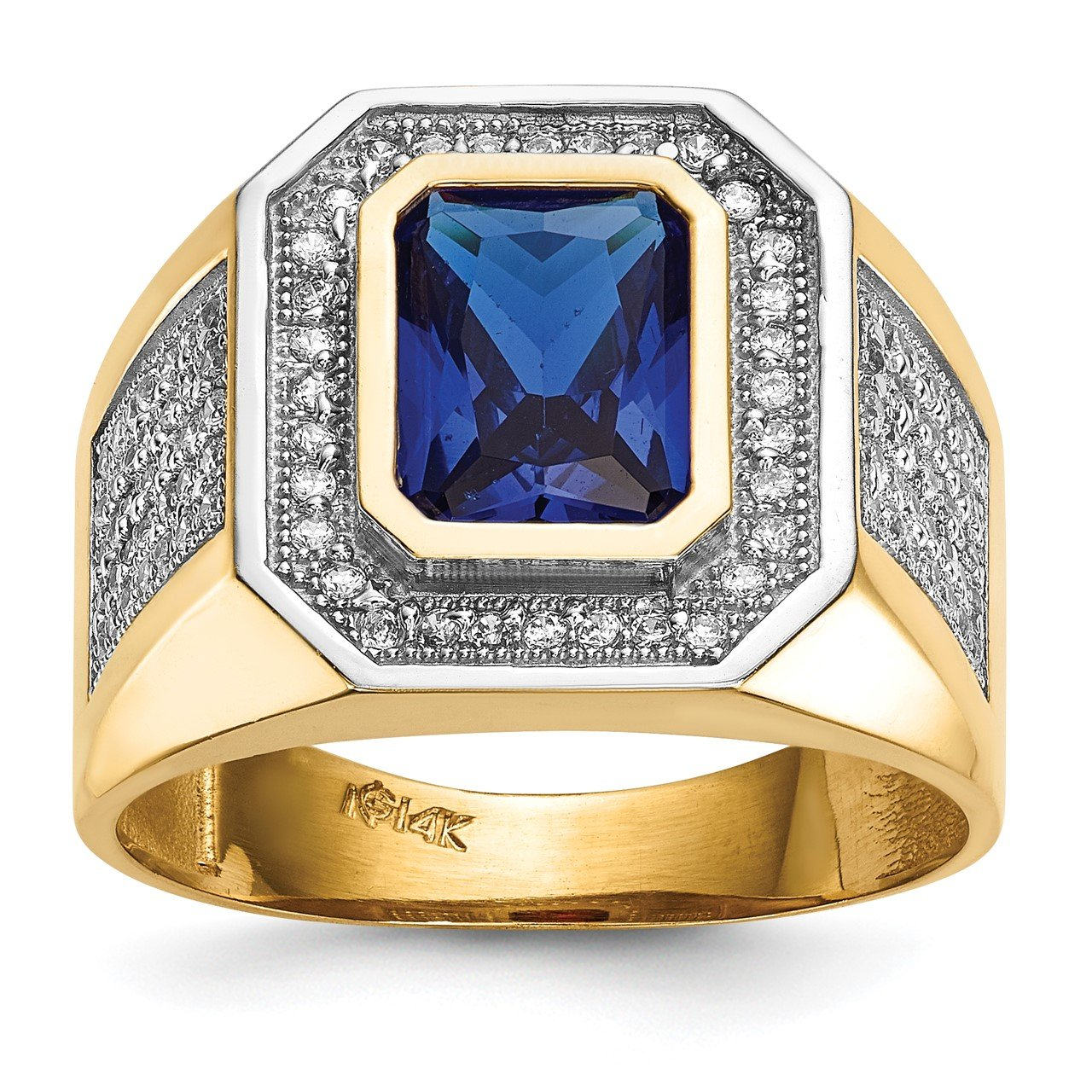 14k with Rhodium CZ and Emerald-cut Blue CZ Mens Ring