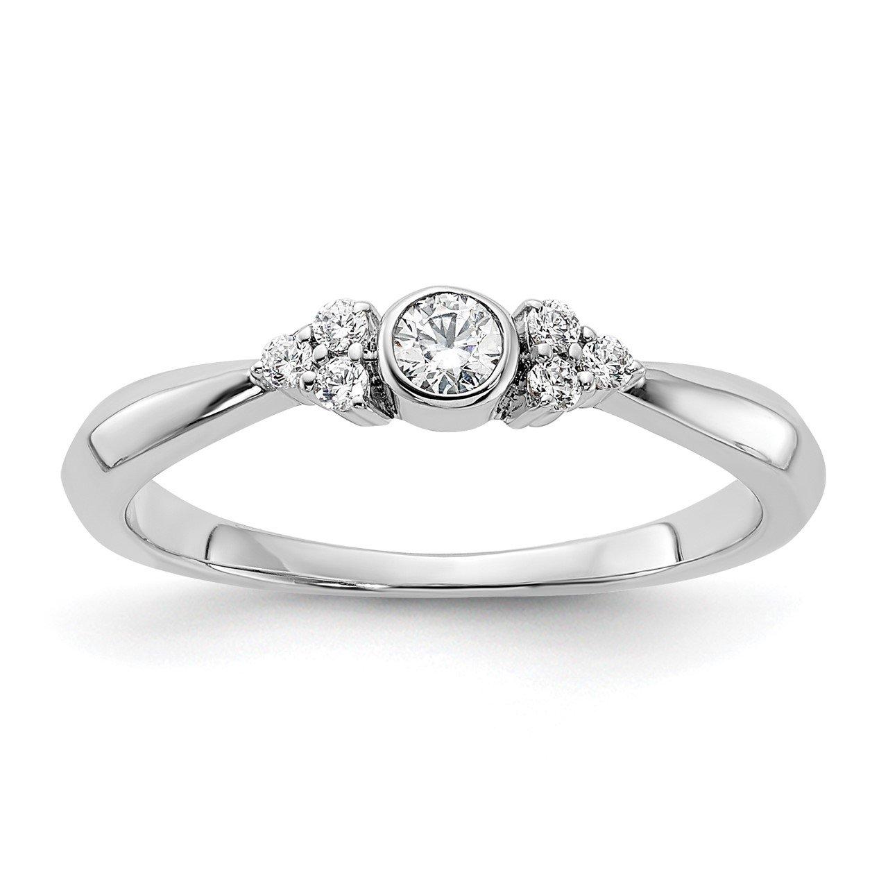 14kw Lab Grown Diamond SI1/SI2, G H I, Round Bezel Set Promise Ring