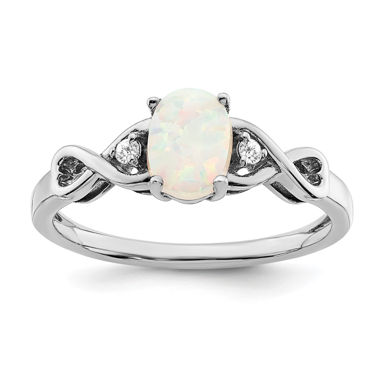 14k White Gold Created Opal and Diamond Ring