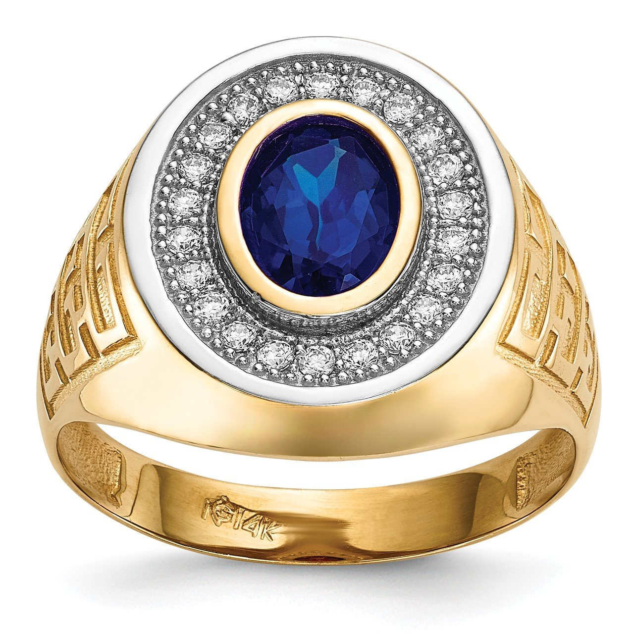 14k with Rhodium CZ and Oval Blue CZ Mens Ring