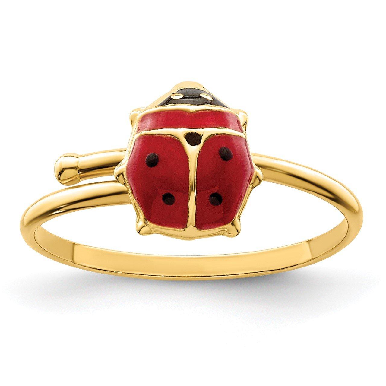 14k Polished Enameled Ladybug Adjustable Ring