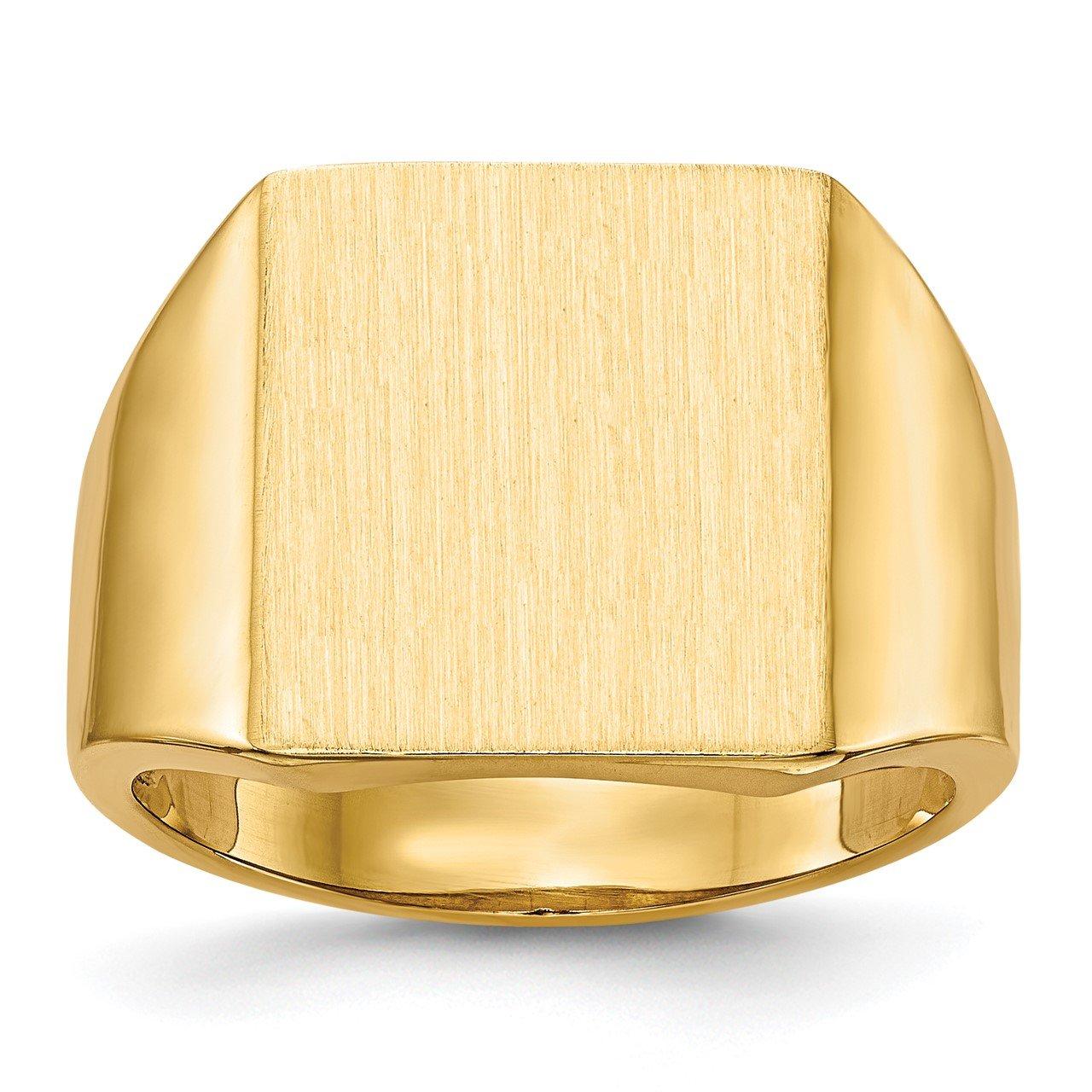 14k 15.0x13.5mm Open Back Mens Signet Ring