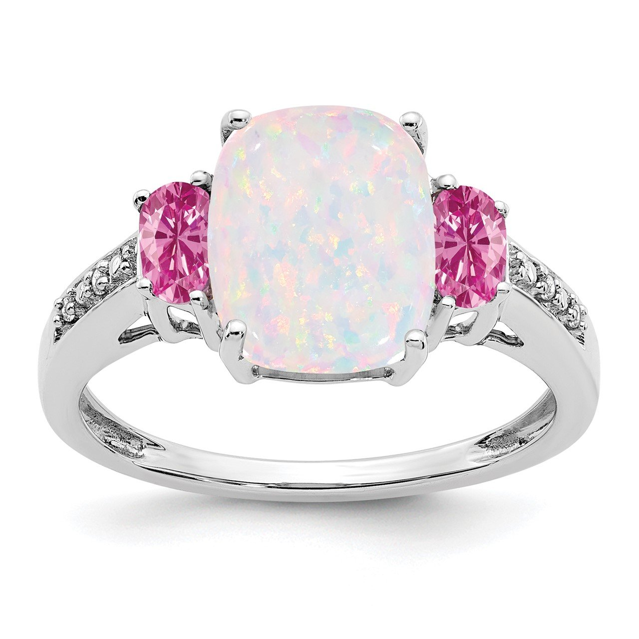 14k White Gold Created Opal/Created Pink Sapphire/Diamond Ring