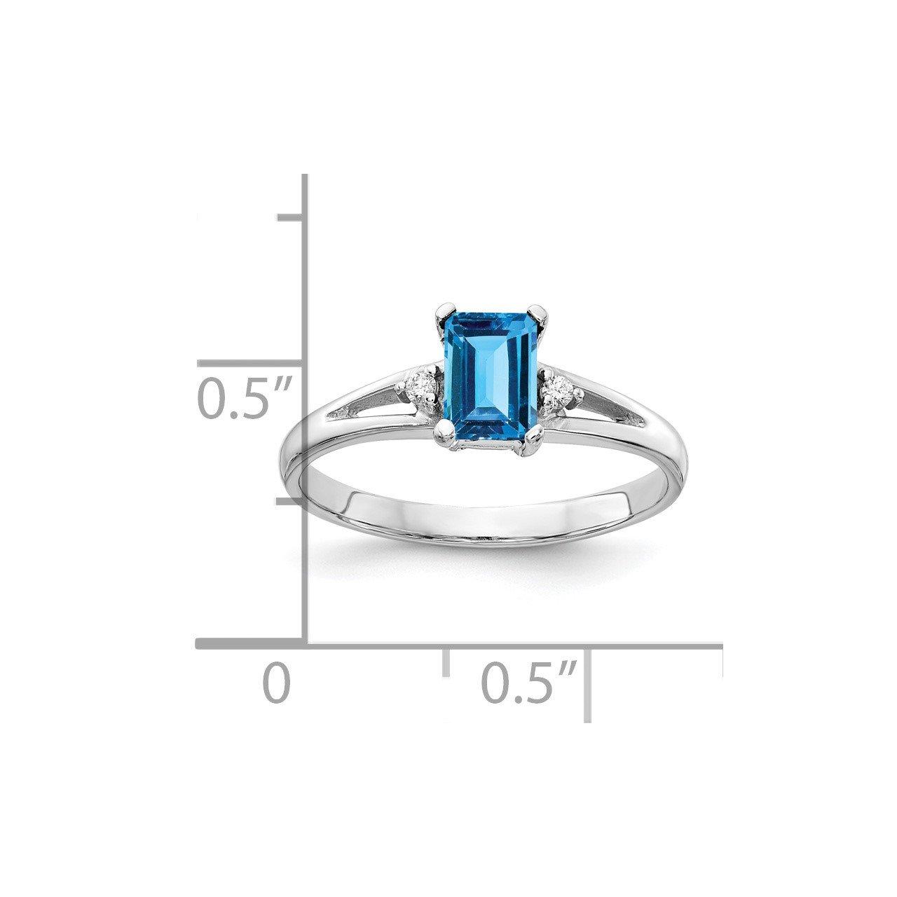 14k White Gold 6x4mm Emerald Cut Blue Topaz AA Diamond ring-1