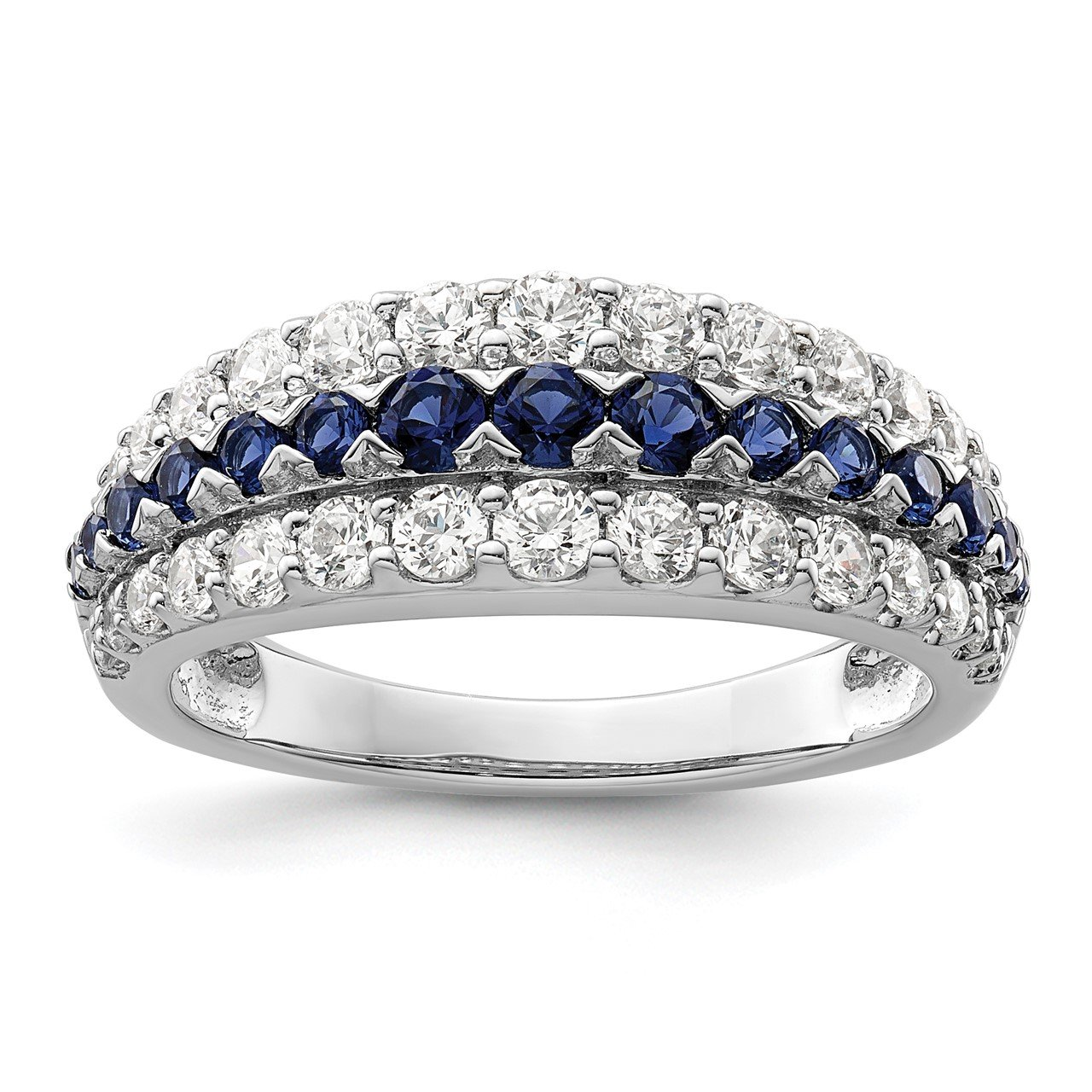 14kw Created Blue Sapphire and Lab Grown Diamond SI1/SI2, G H I, Ring