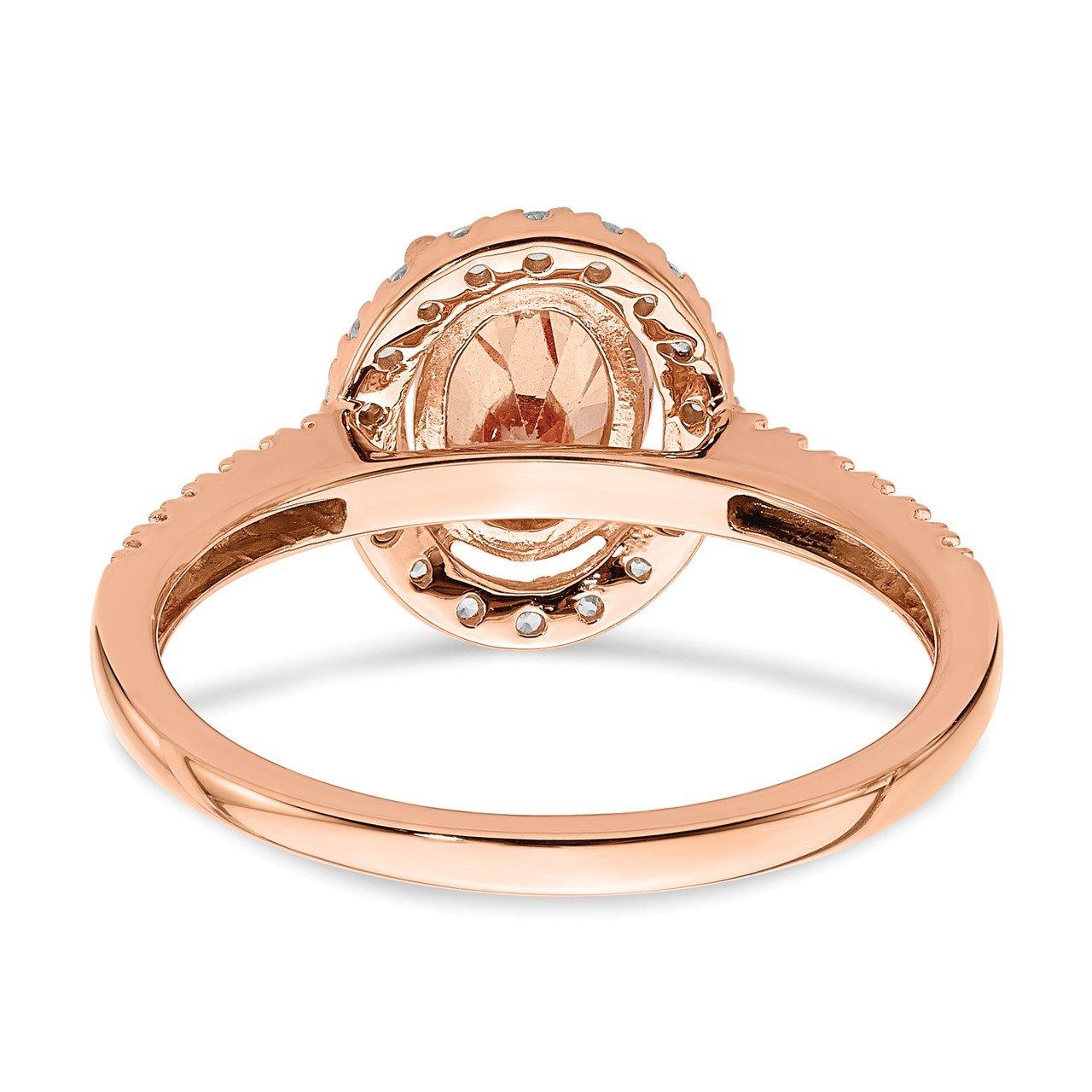 14k Rose Gold Morganite and Diamond Eng Ring-4