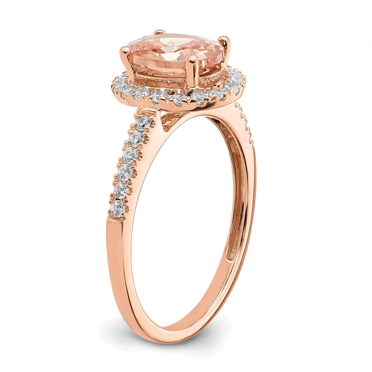 14k Rose Gold Morganite and Diamond Eng Ring-5