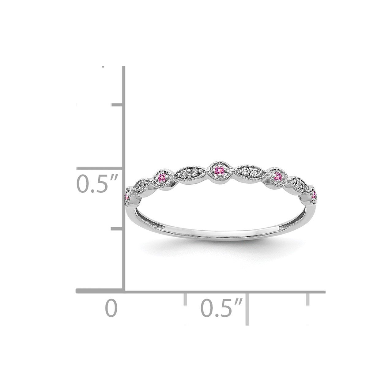 14k White Gold Diamond and Pink Sapphire Fancy Band-2