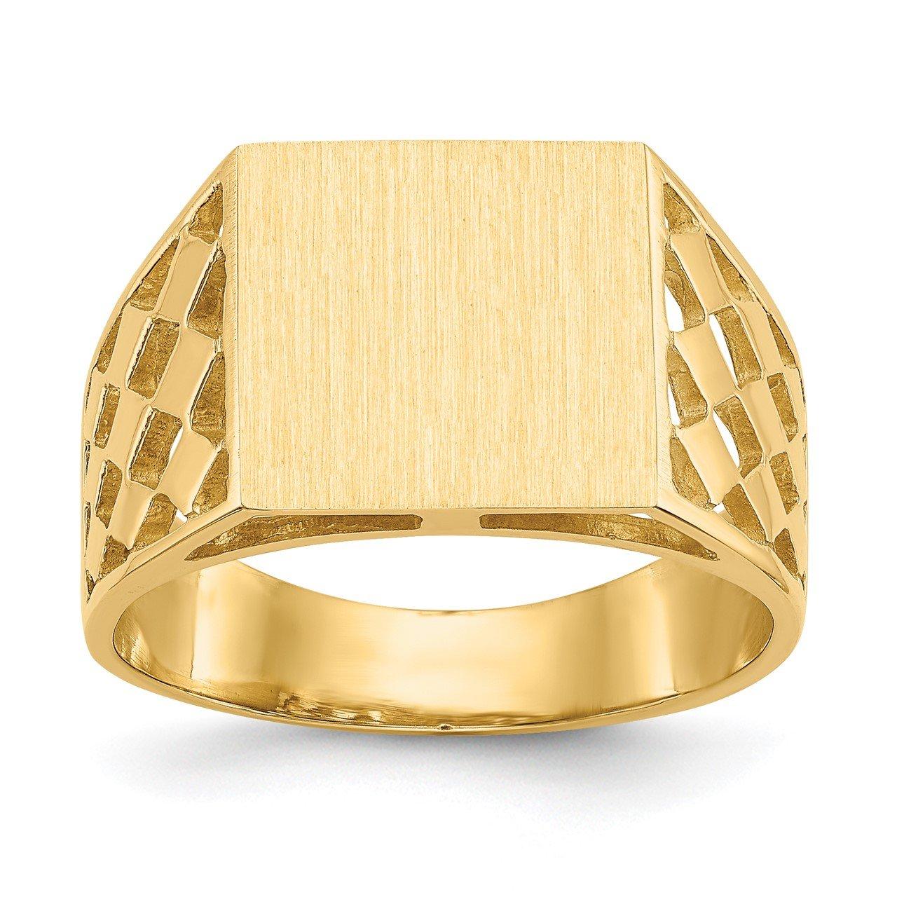 14k 12.0x12.5mm Open Back Men's Signet Ring