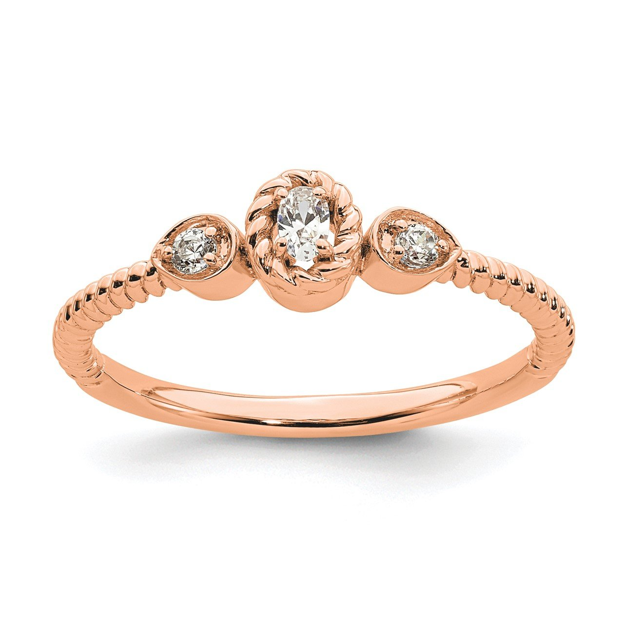 14k Rose Polish Roped Band Petite Oval Complete Dia Ring