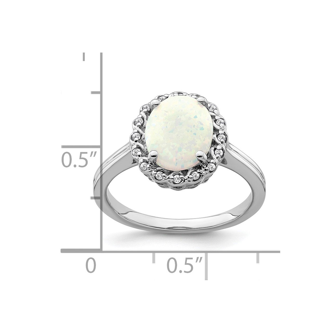 14k White Gold Created Opal and Diamond Halo Ring-2