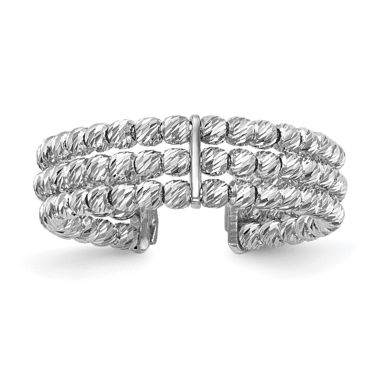 Leslie's 14K White Gold Polished D/C 3 Band Beaded Adjustable Ring