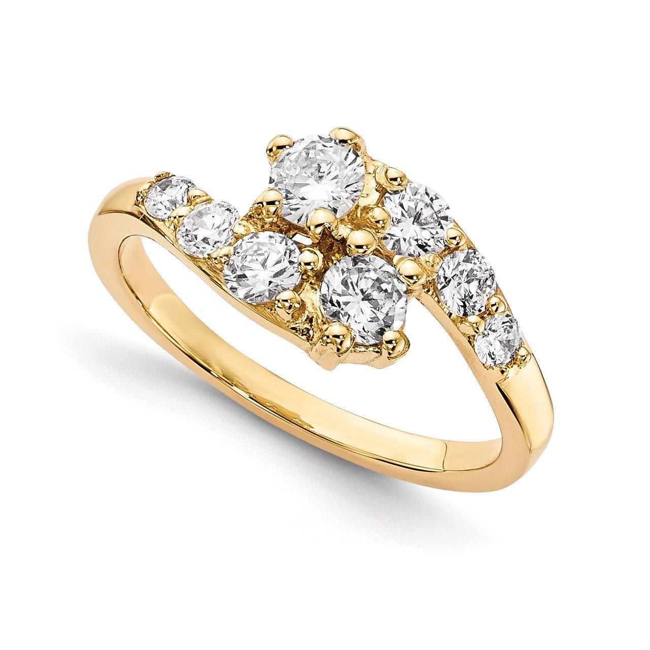 14KY AA Diamond 2-stone Ring Semi-Mount - 3.5 mm center stones