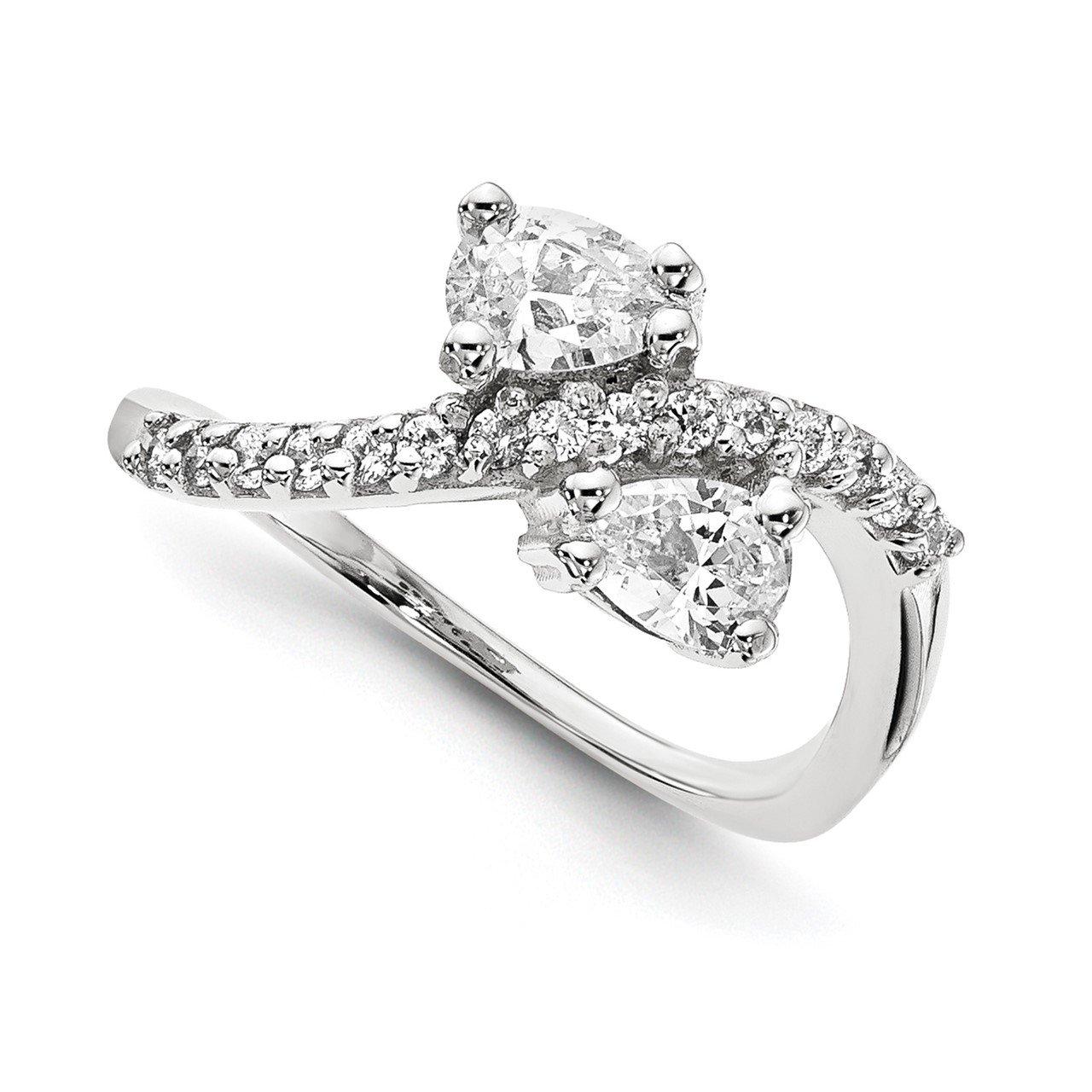 14KW A Diamond 2-stone Ring Semi-Mount - 5x3 mm center stones