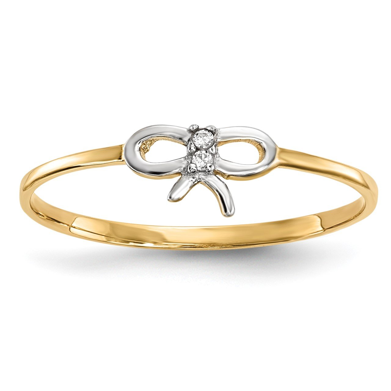 14k with Rhodium CZ Bow Ring