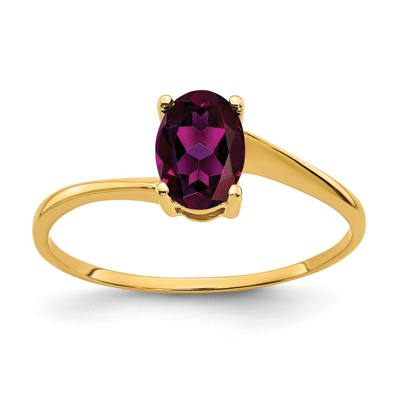 14k 7x5mm Oval Rhodolite Garnet ring