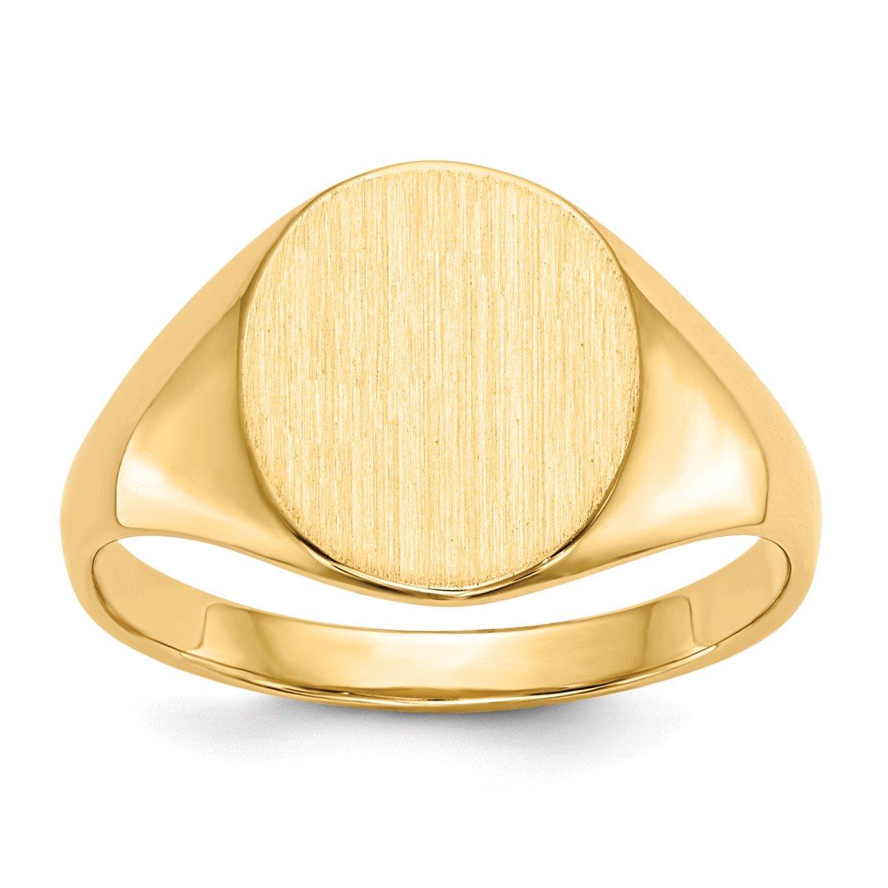 14k 11.0x9.5mm Open Back Signet Ring