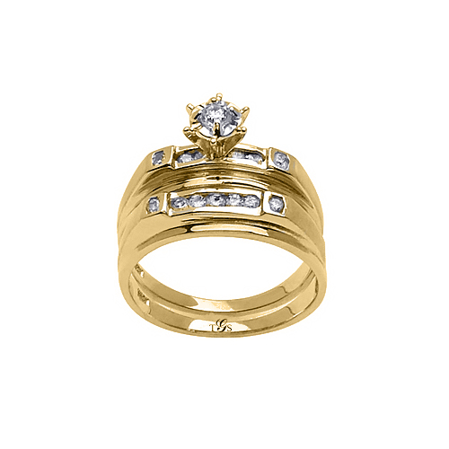 14k Yellow / White / Rose Gold Channel Set Natural Diamond Wedding Set (Center Stone Not Included)