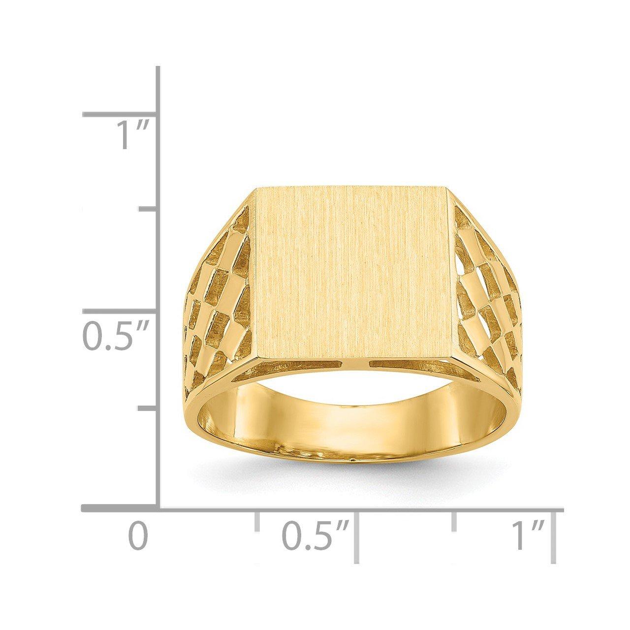 14k 12.0x12.5mm Open Back Men's Signet Ring-4