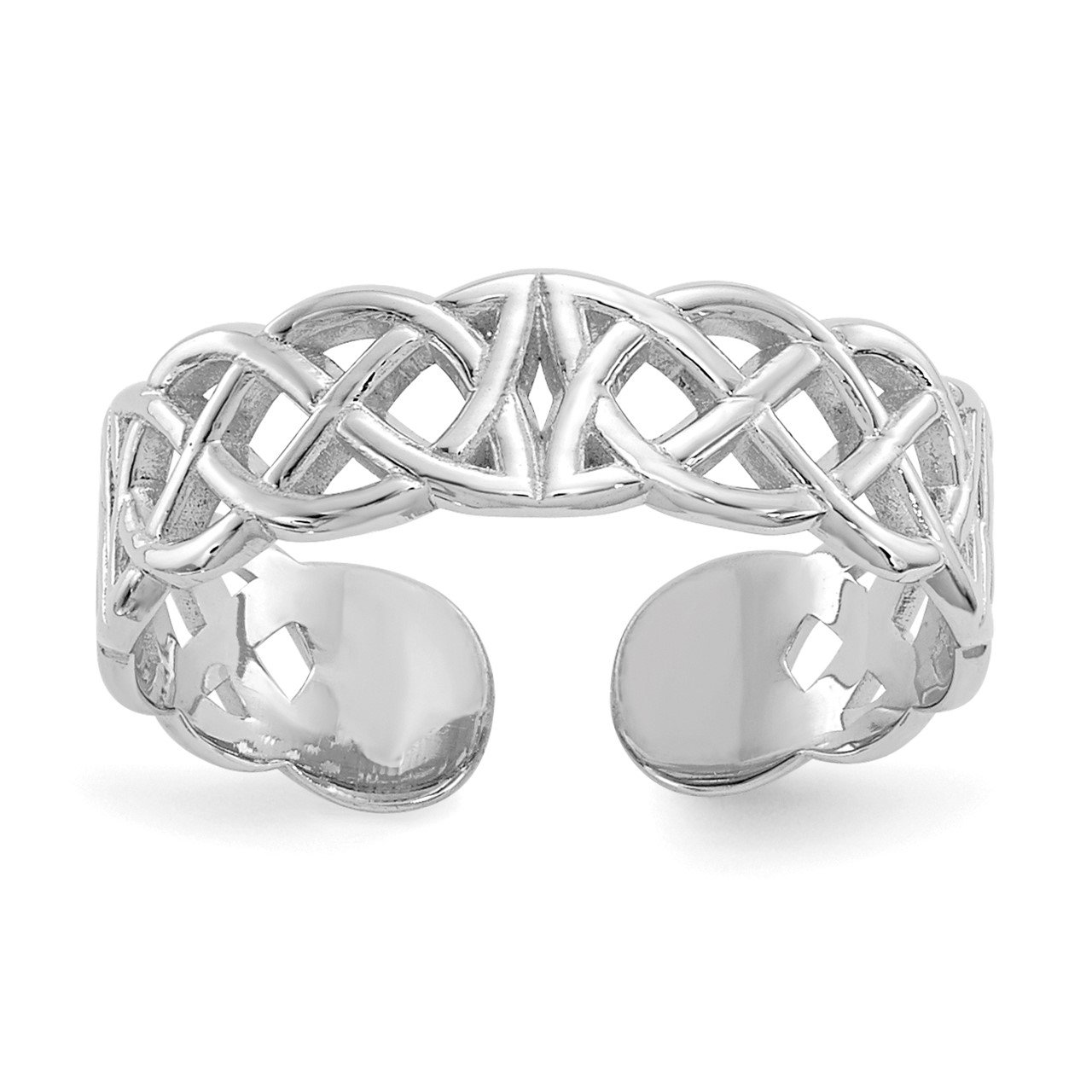 14k White Gold Polished with Design Toe Ring