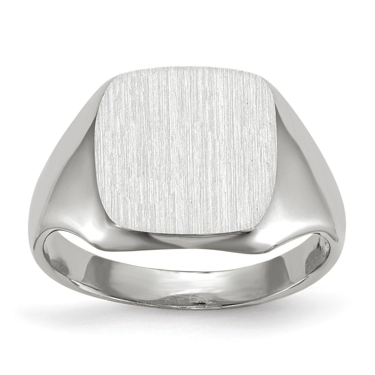 14k White Gold 11.0x10.5mm Open Back Signet Ring