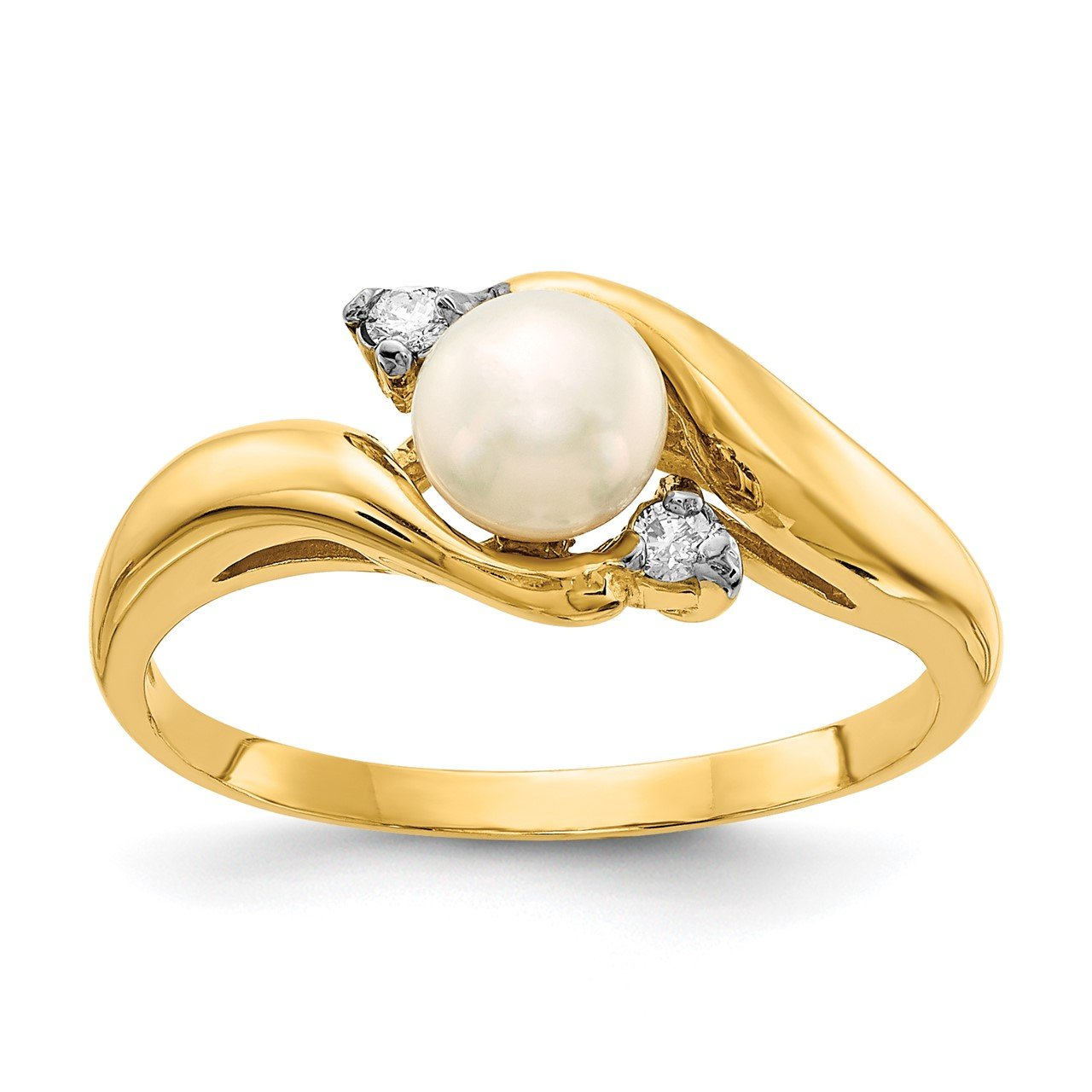 14K 5-6mm White Button Freshwater Cultured Pearl .04tw Diamond Ring