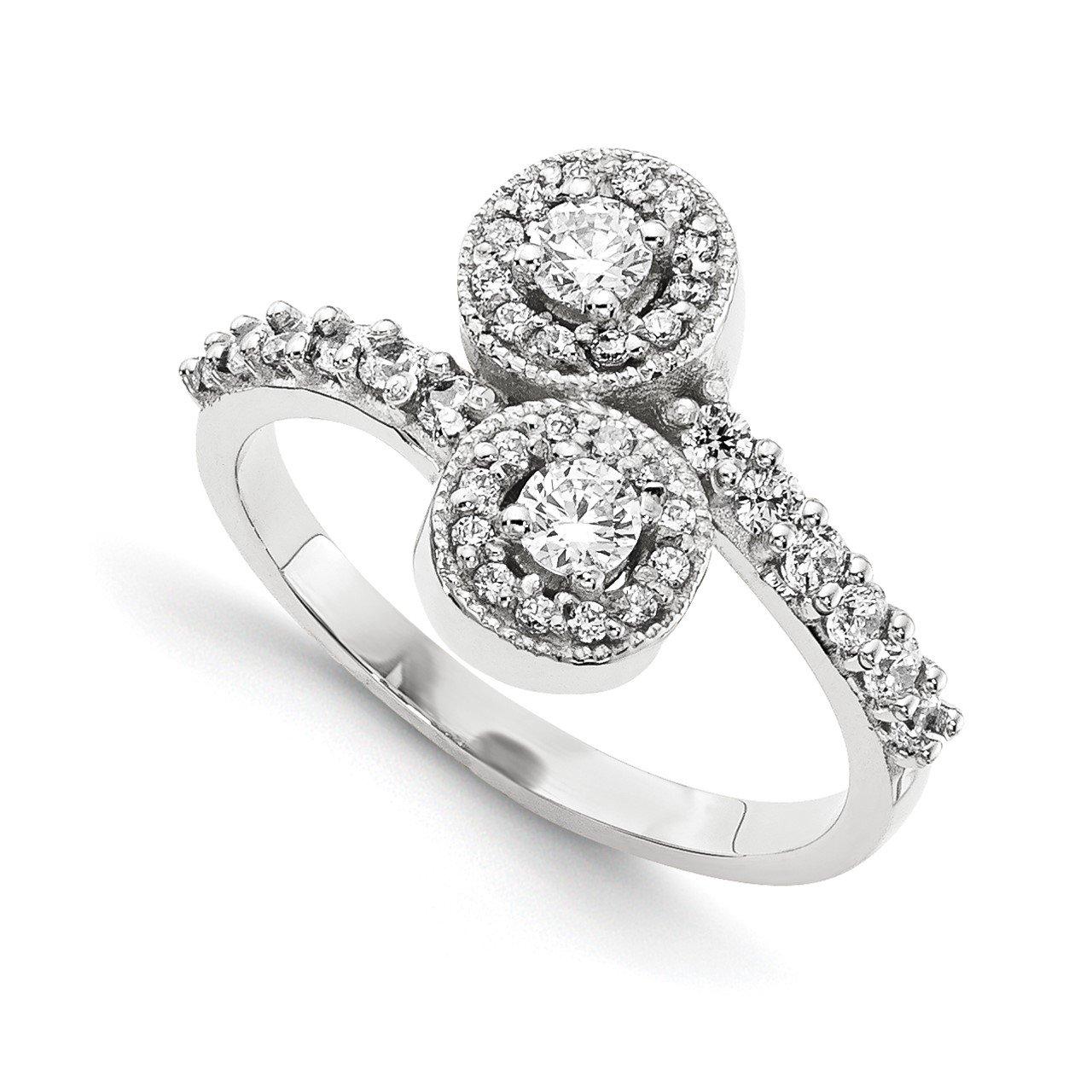 14KW VS Diamond 2-stone Ring Semi-Mount - 3 mm center stones