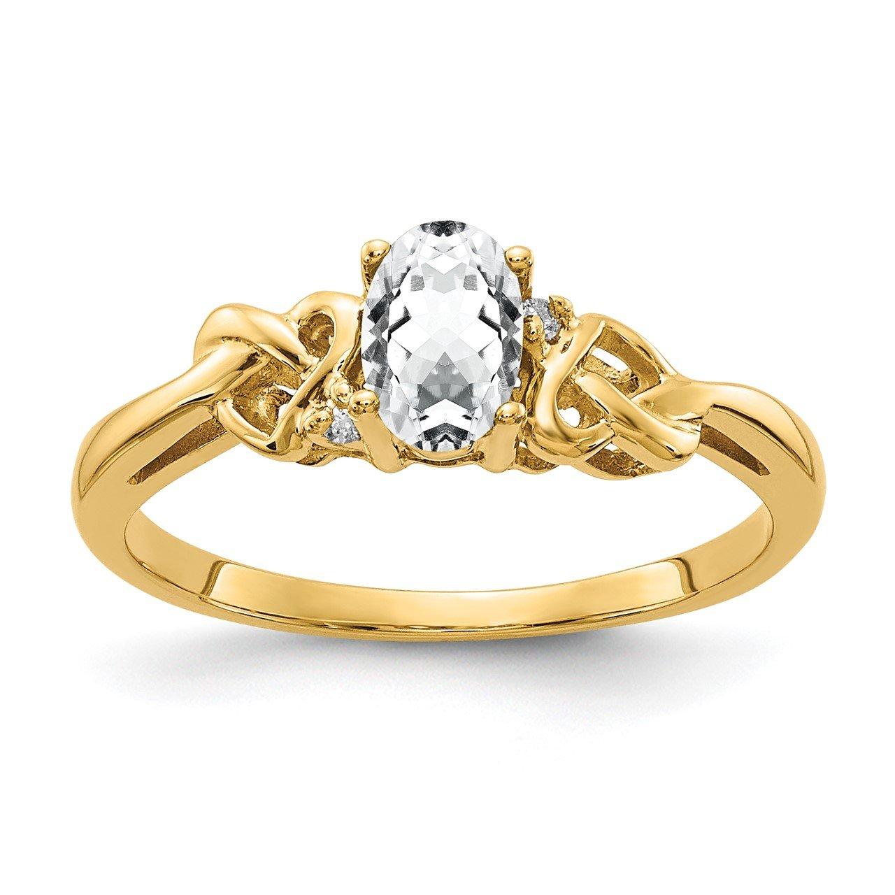 14k 6x4mm Oval Cubic Zirconia AA Diamond ring