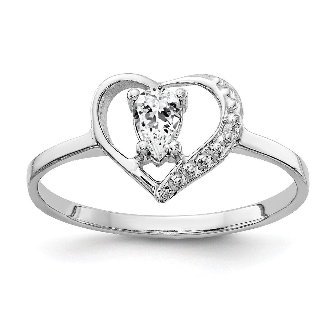 14k White Gold 5x3mm Pear Cubic Zirconia VS Diamond ring