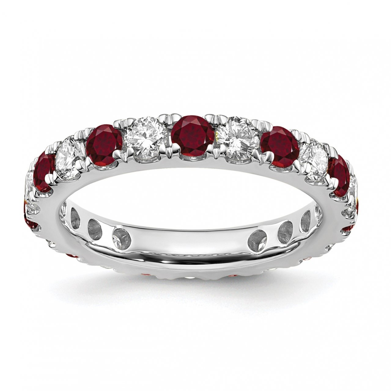 14kw Lab Grown Diamond SI1/SI2 G H I and Created Ruby Eternity Band