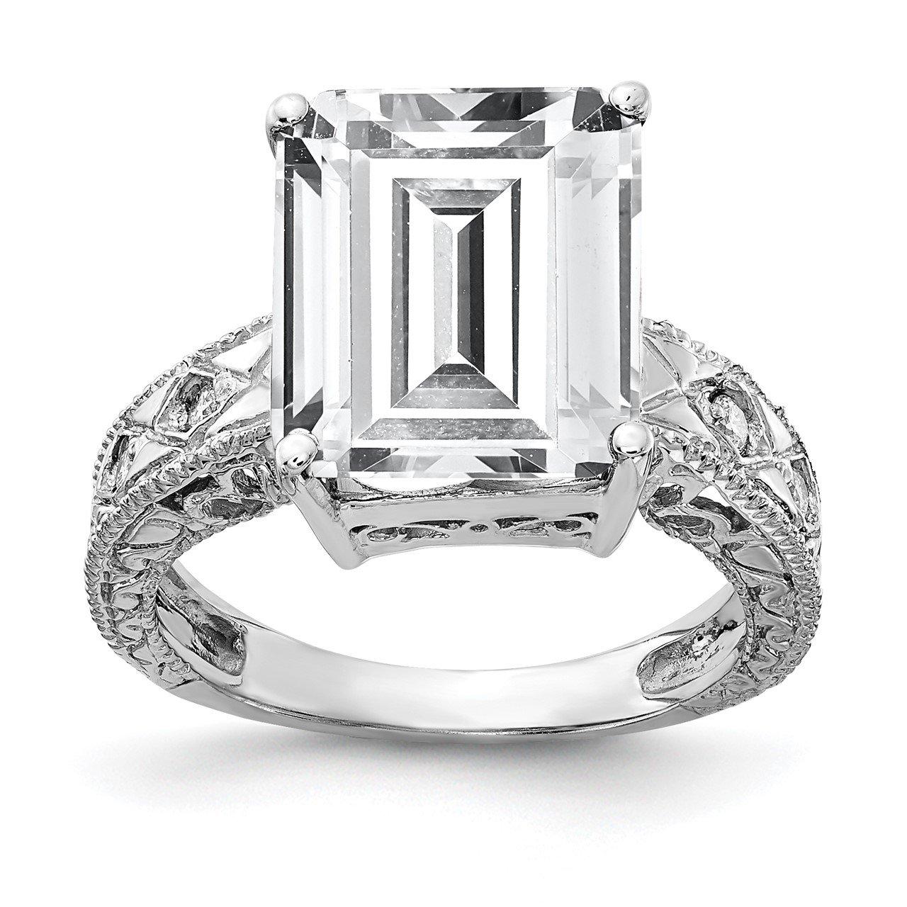 14k White Gold 12x10mm Emerald Cut Cubic Zirconia A Diamond Ring