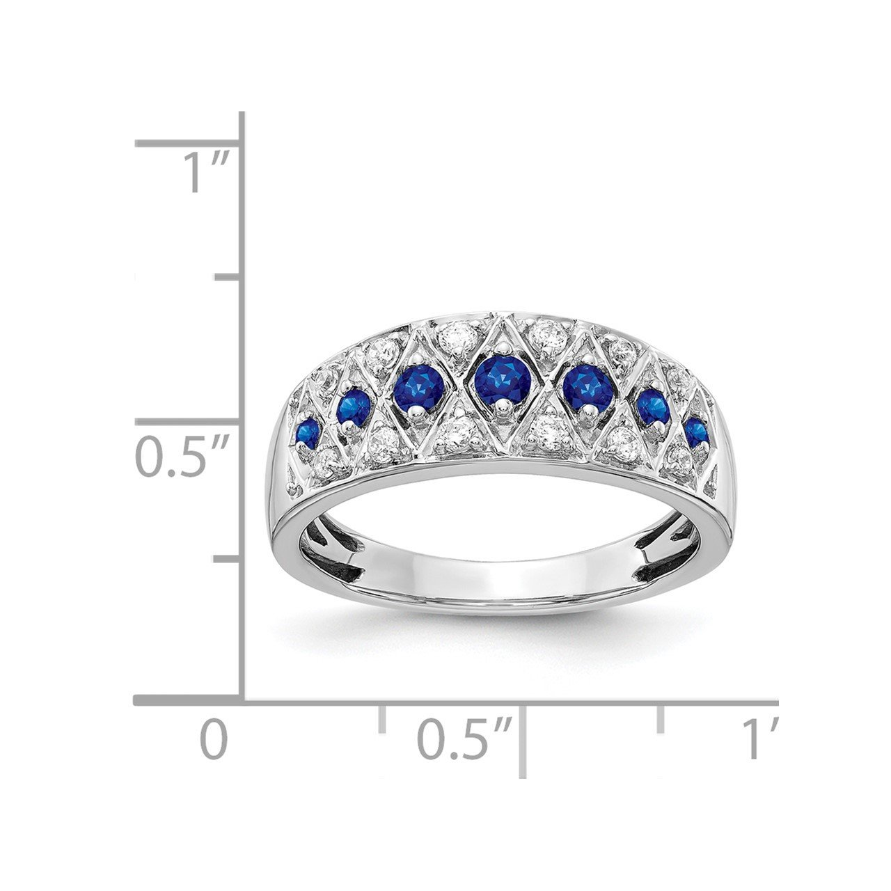 14k White Gold Diamond and Sapphire Fancy Ring-1