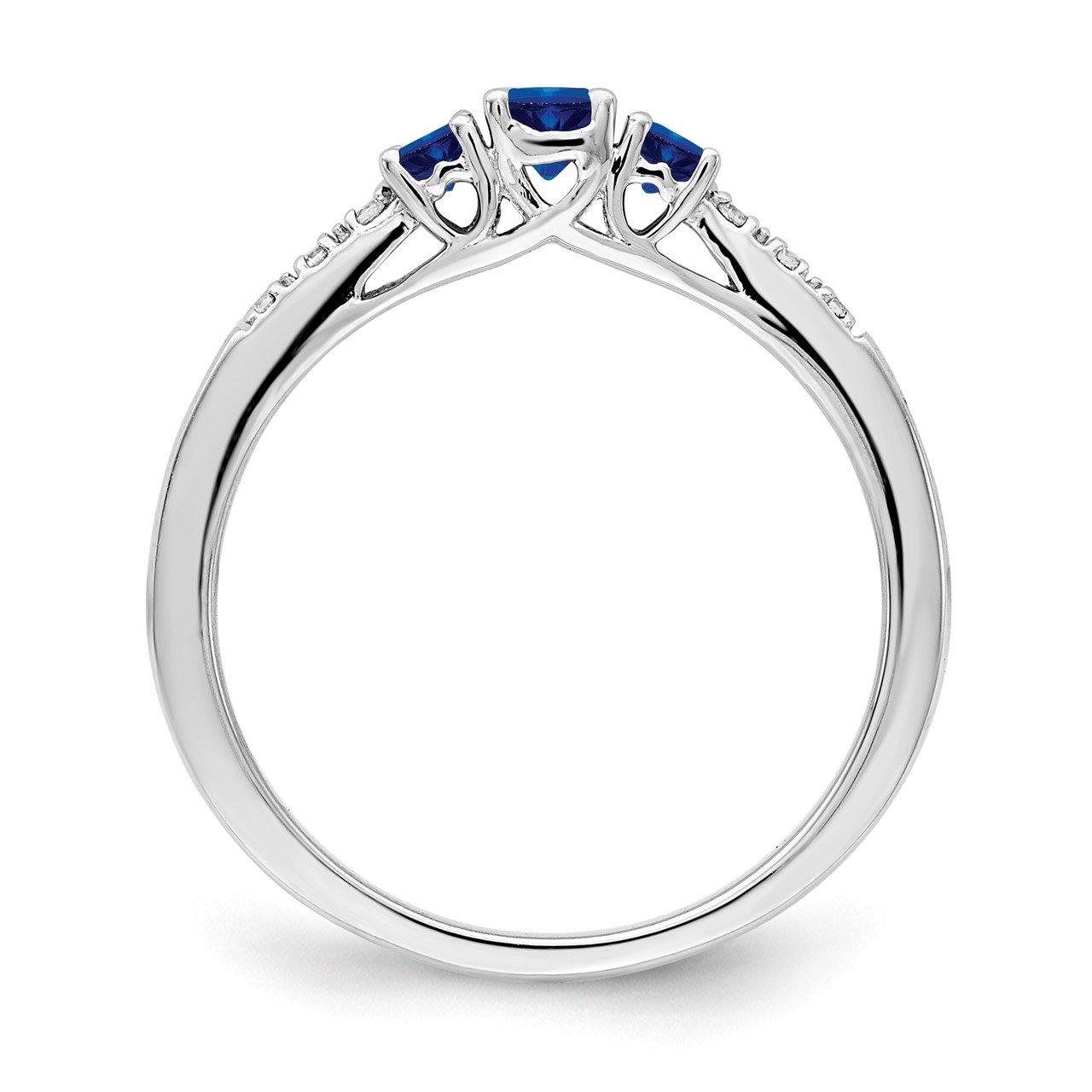 14k White Gold Sapphire and Diamond 3-stone Ring-1