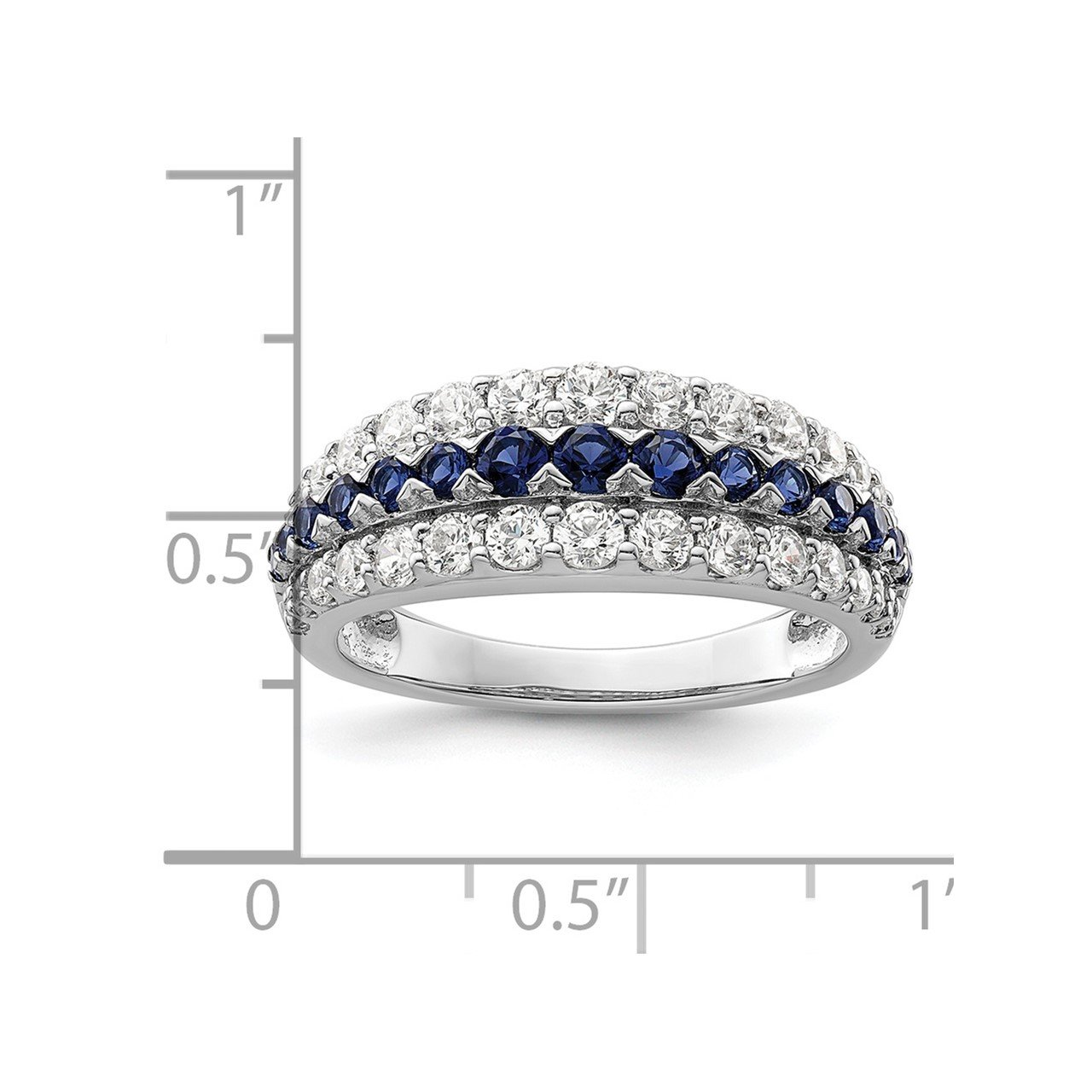 14kw Created Blue Sapphire and Lab Grown Diamond SI1/SI2, G H I, Ring-6