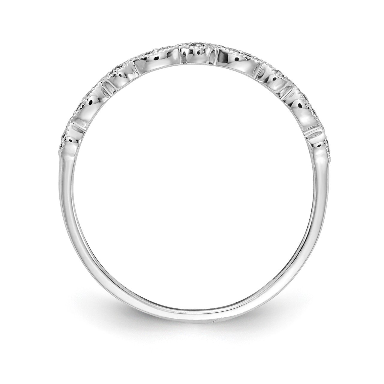 14k White Gold Diamond and Pink Sapphire Fancy Band-1